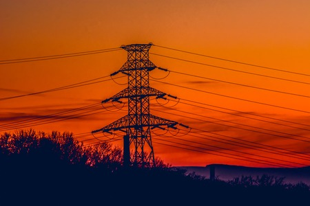 Electric pole with electrical wires Stock Photo
