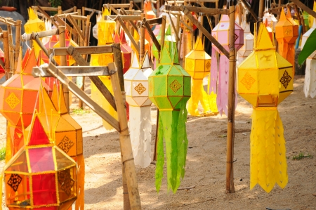 colorful lantern: Colorful Lantern Festival or Yee Peng Festival  North of Thailand new years  , Chiang Mai ,Thailand