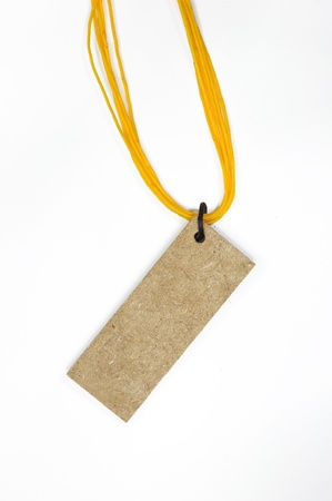 yellow line: wooden tag with yellow line  Stock Photo