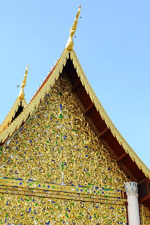 ornately: detail of ornately decorated temple roof , thailand