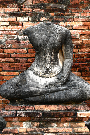 Part of broken buddha statue in Ayutthaya historical park, Thailand  photo