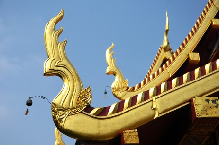 gabled: the roof of royal temple, thailand   Stock Photo