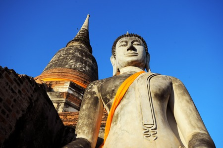 chaimongkol: buddha statue with pagoda, Wat Yai Chaimongkol , Ayutthaya , Thailand Stock Photo