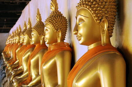 group of buddha statue ,Wat Phutthaisawan , Ayutthaya ,Thailand photo