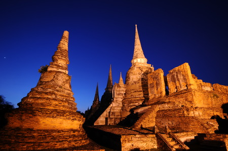 twilight time of Wat Phra Sri Sanphet, Ayutthaya, Thailand  photo