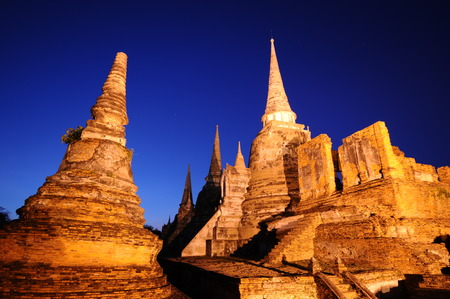 twilight time of Wat Phra Sri Sanphet, Ayutthaya, Thailand photo