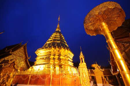 doi: phra That Doi Suthep temple in twilight , Chiangmai , Thailand