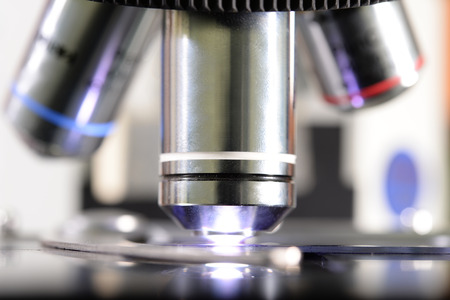 close up shot of microscope at the blood laboratory