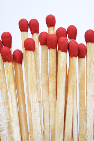 dangerous ideas: Set of red matches isolated on white background.