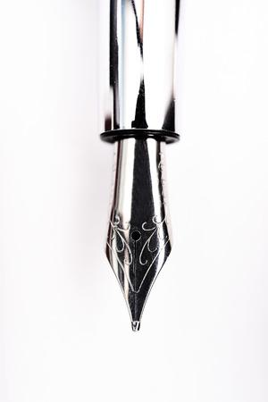 nib: Vintage nib pen isolated on white background. Stock Photo