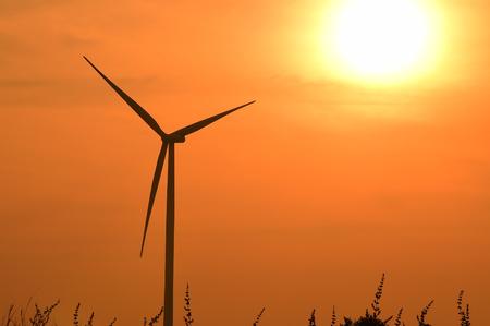 Wind turbines silhouette at sunset photo