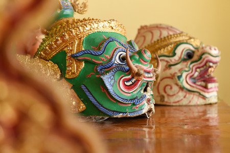 thailand art: Hua Khon (Thai Traditional Mask) Used in Khon - Thai traditional dance of the Ramayana Epic Saga