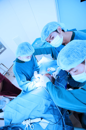 laparoscopic: veterinarian doctor in operation room for laparoscopic surgical take with blue filter