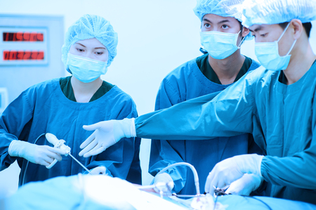 group of veterinarian doctor in operation room for laparoscopic surgical take with blue filter photo