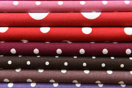 polka dot fabric: Colorful polka dot fabric for background Stock Photo