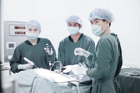 腹腔鏡下外科的、選択的なカラー技術のオペレーション ルームで獣医の医者 写真素材