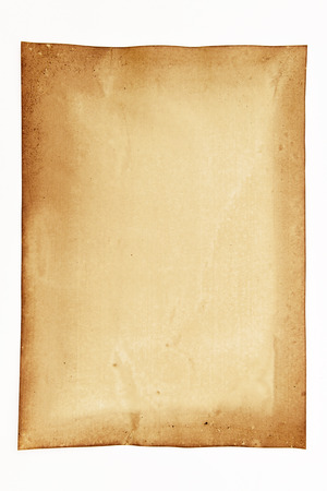 oldened: Old paper isolated on white background Stock Photo