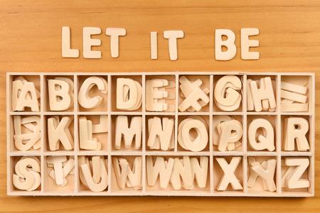 typesetter: English alphabet set in wooden box