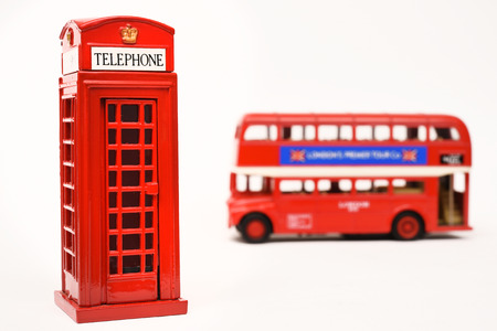 red telephone: Red telephone box and red bus