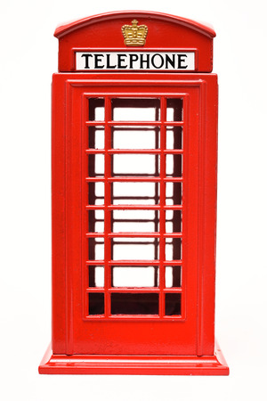 Red phone booth isolated on white background Banco de Imagens