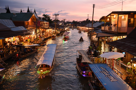 amphawa: AMPHAWA , MAY 2 : Amphawa market canal, the most famous of floating market and cultural tourist destination on May 2, 2015 in Amphawa ,Thailand.