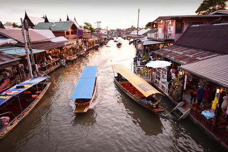AMPHAWA  MAY 2 : Amphawa market canal the most famous of floating market and cultural tourist destination on May 2 2015 in Amphawa Thailand. Editorial