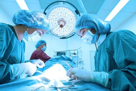 healthcare professional: group of veterinarian surgery in operation room take with art lighting and blue filter