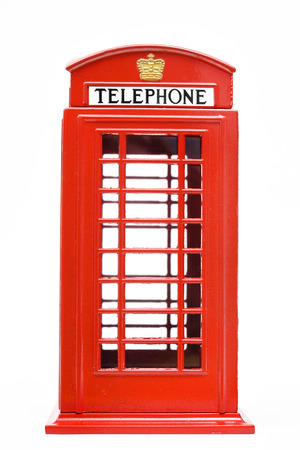 phonebooth: Red phone booth isolated on white background Stock Photo
