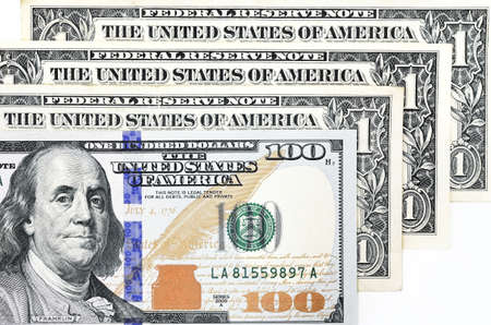 Macro shot of a new 100 dollar bill and one dollar isolate on white background