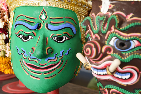 epic: Hua Khon Thai Traditional Mask Used in Khon - Thai traditional dance of the Ramayana Epic Saga