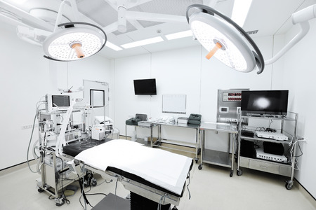 equipment and medical devices in modern operating room take with selective color technique and art lighting