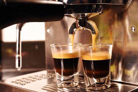 coffee machine preparing cup of coffee. Standard-Bild