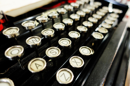 writing desk: Details of an old retro typewriter, vintage style Stock Photo