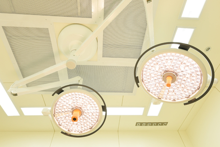 aseptic: Two surgical lamps in operation room