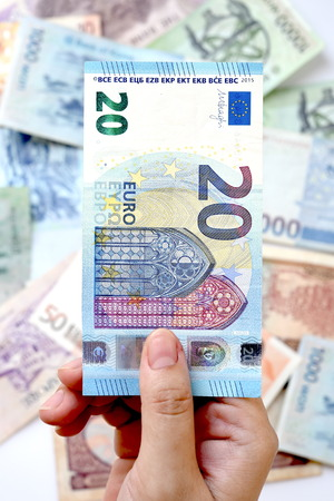 20 euro: 20 Euro on hand for background Stock Photo