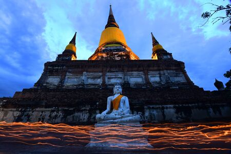 Big buddha in Wat Yai Chaimongkol, Ayutthaya, Thailand Stock Photo