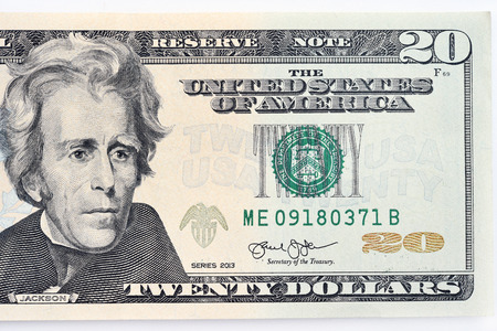흰색 배경에 고립 된 지폐의 가까이