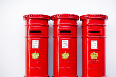 London post box isolated on white background Stock Photo