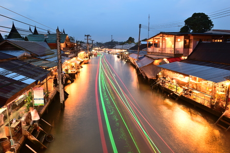 AMPHAWA ,  NOVEMBER 12 : Amphawa market canal, the most famous of floating market and cultural tourist destination on November 12, 2017 in Amphawa ,Thailand. Editorial