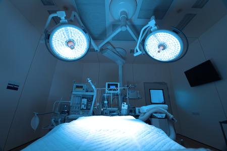 Los equipos y dispositivos médicos en la moderna sala de operaciones toman con iluminación artística y filtro azul