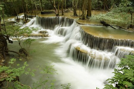 Beautiful waterfall with stones in forest, Thailand