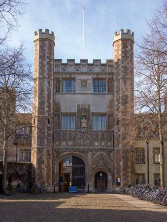 Trinity College Great Gate, Cambridge, UK, February 12 2018 built in 16th century it shows many fine ornate carvings and figurines including one of Henry VIII and is a major attraction in Cambridge