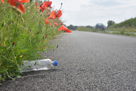 A discarded plastic bottle lies at the side of a path nestled amongst poppy flowers as car speeds by