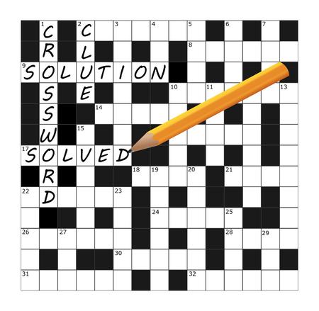 Ein Vektor-Kreuzworträtsel-Teil, das mit den Wörtern Kreuzworträtsel, Hinweis, Lösung und zusammen mit einem Bleistift gelöst wurde