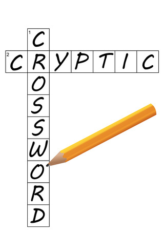 Vector of a partial Cryptic Crossword grid with words completed and a pencil