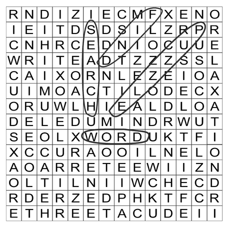 A vector drawing of a word search puzzle in which keywords search, puzzle, word and find have been circled