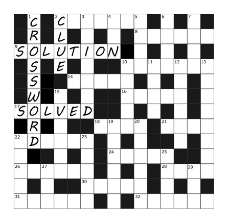 A vector Crossword Grid part completed with the words crossword, clue, solution and solved Illustration