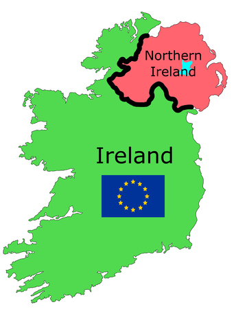 A graphic illustration of the border between the Republic of Ireland and Northern Ireland with an EU flag a major subject in the Brexit negotiations