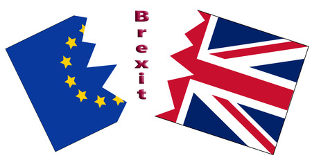 A conceptual illustration of Brexit with EU and UK flags ripped apart by the word Brexit