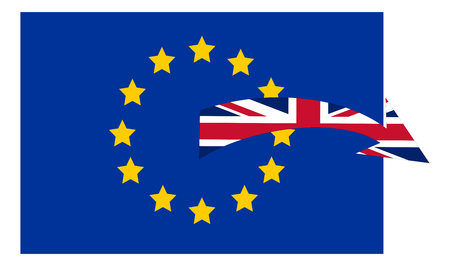 A conceptual illustration of the United Kingdom leaving the European Union due to the Brexit process after the referendum